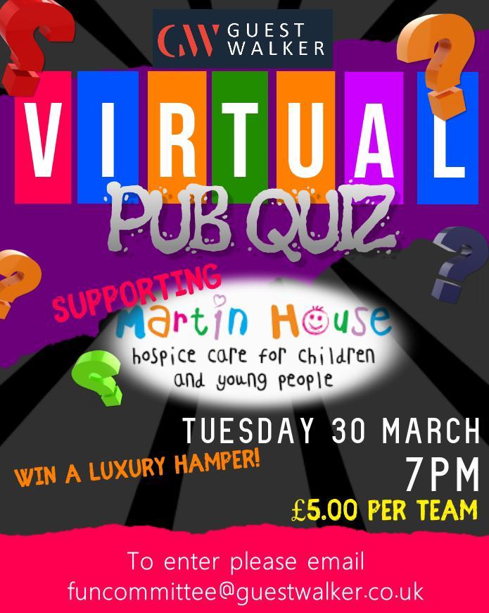 Virtual Pub Quiz in Aid of Martin House Hospice
